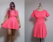 Vintage neon barbie pink mini skater dress 90s 1990s