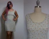 Vintage beige 90s 1990s floral pattern mini dress