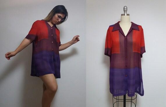 Vintage WEILL mondrian color block red purple geom