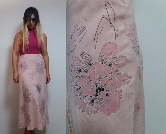 Vintage high waist baby pink maxi length floral pa