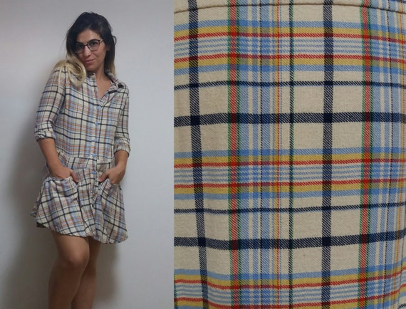 Vintage beige blue checkered plaid long sleeve gru