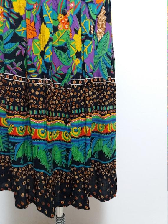 Vintage skirt big oversized size maxi large tea safari midi nature 80s length colorful fabric jungle girl pattern rainbow dress rqBwrTHp