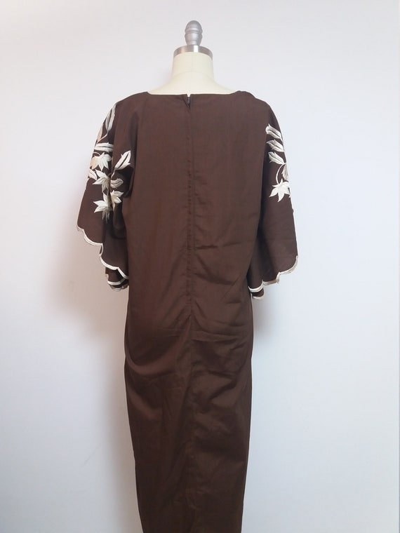 egyptian skirt brown caftan VTG moroccan 90s Vintage sleeve hipster boho up bat ethnic hippie loungewear cover dress long 80s maxi bohemian xCxYqAHw