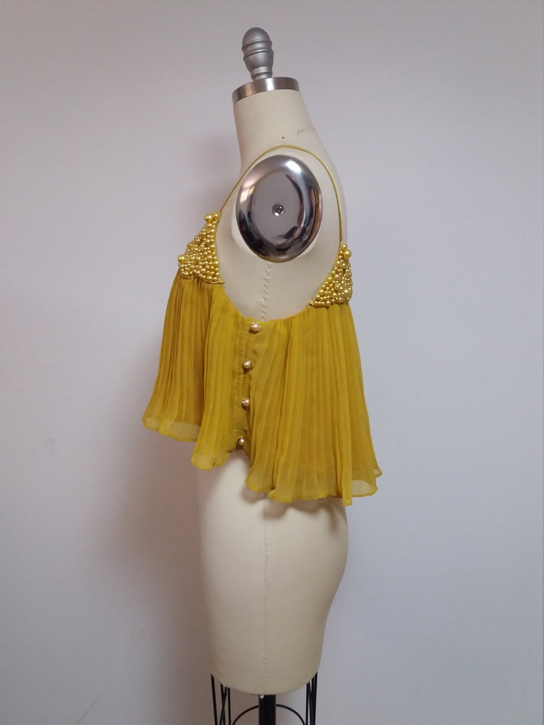 Vintage yellow gold beaded pleated spaghetti strap swing gatsby crop top shirt blouse 1990 90s