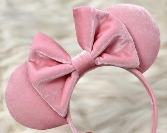 Millennial Pink Velvet Minnie Mouse Ears Mickey Mouse Ears Mickey Ears  - MADE TO ORDER