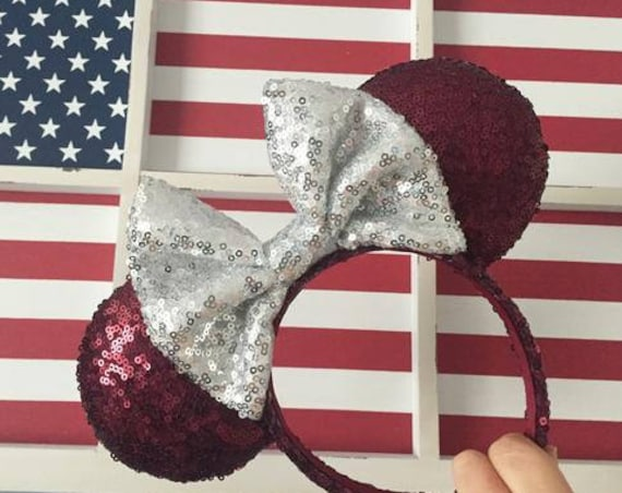 Crimson tide sequin minnie mouse ears (UA) mickey mouse ears glitter mickey ears sequin mickey ears - MADE to ORDER