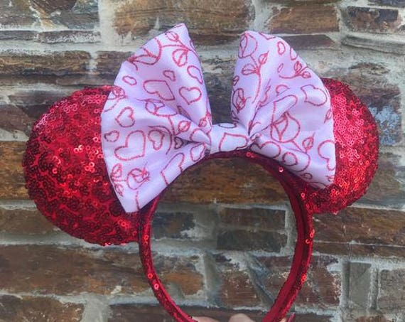 Pink Valentines Day Bow on Red Sequin Minnie Mouse EarsMickey Mouse Ears Glitter Mickey Ears Sequin Mickey Ears - MADE TO ORDER