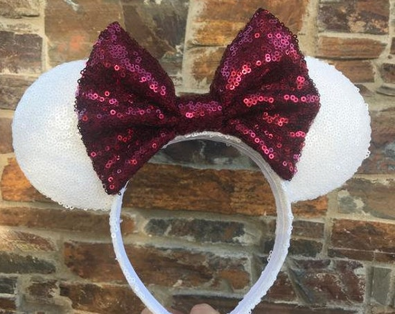 White and Maroon Sequin Minnie Mouse Ears (Texas A&M) Mickey Mouse Ears Glitter Mickey Ears Sequin Mickey Ears - MADE TO ORDER