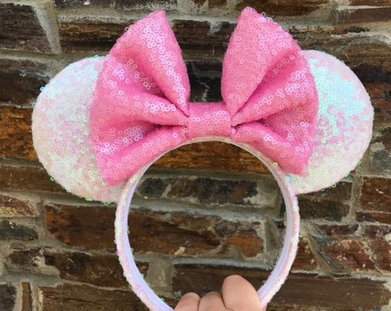 Bubblegum Unicorn Sequin Minnie Mouse Ears Mickey Mouse Ears Glitter Mickey Ears Sequin Mickey Ears - MADE TO ORDER