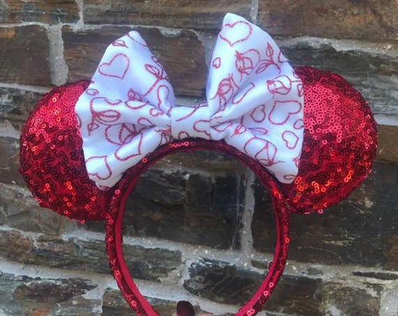 Valentines Day Bow on Red Sequin Minnie Mouse EarsMickey Mouse Ears Glitter Mickey Ears Sequin Mickey Ears - MADE TO ORDER