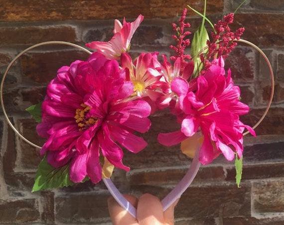 Limited Edition - Pink Summer Florals, disney ears,  mouse ears, minnie mouse ears, mickey mouse ears, floral wire ears, wire mouse ears