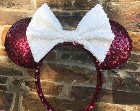 Maroon and White Sequin Minnie Mouse Ears (Texas A&M) Mickey Mouse Ears Glitter Mickey Ears Sequin Mickey Ears - MADE TO ORDER