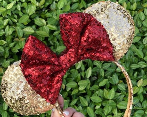 Belle Sequin Minnie Mouse EarsMickey Mouse Ears Glitter Mickey Ears Sequin Mickey Ears - MADE TO ORDER