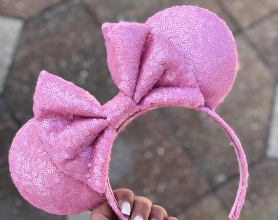 Bubblegum Full Sequin Minnie Mouse EarsMickey Mouse Ears Glitter Mickey Ears Sequin Mickey Ears - MADE TO ORDER