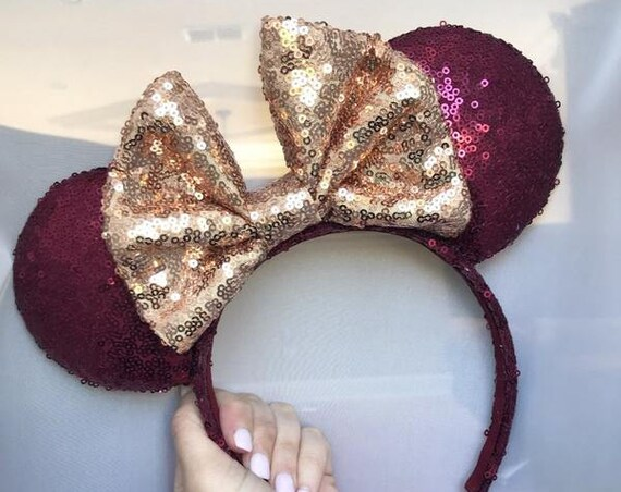 Seminole sequin mouse ears with gold bow (FSU) mickey mouse ears glitter mickey ears sequin mickey ears - MADE to ORDER