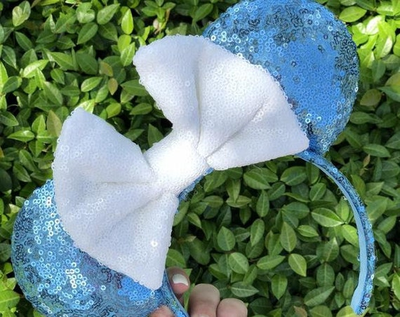 Blue with White Bow Sequin Minnie Mouse Ears Mickey Mouse Ears Glitter Mickey Ears Sequin Mickey Ears - MADE TO ORDER