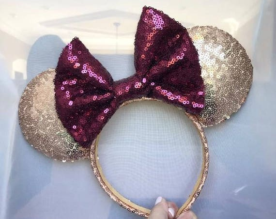 Seminole Gold Sequin Minnie Mouse Ears with Garnet Bow (FSU) mickey mouse ears glitter mickey ears sequin mickey ears - MADE to ORDER