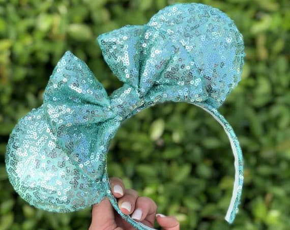 Aqua Green Full Sequin Minnie Mouse EarsMickey Mouse Ears Glitter Mickey Ears Sequin Mickey Ears - MADE TO ORDER