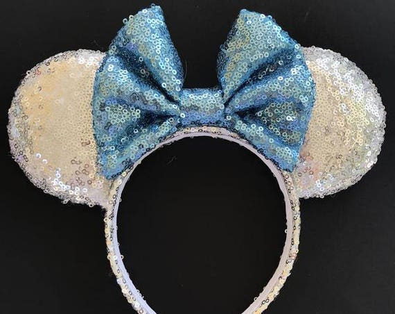 Elsa Sequin Minnie Mouse EarsMickey Mouse Ears Glitter Mickey Ears Sequin Mickey Ears - MADE TO ORDER