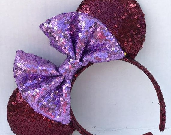 Sigma Kappa Sorority Full Sequin Minnie Mouse EarsMickey Mouse Ears Glitter Mickey Ears Sequin Mickey Ears - MADE TO ORDER