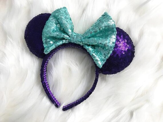 Ariel Little Mermaid Sequin Minnie Mouse EarsMickey Mouse Ears Glitter Mickey Ears Sequin Mickey Ears - MADE TO ORDER