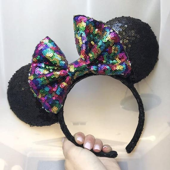 Party Rainbow Bow Black Minnie Mouse Sequin Ears Mickey Mouse Ears Glitter Mickey Ears Sequin Mickey Ears - MADE TO ORDER
