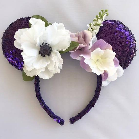 Purple Flower Sequin Mickey Mouse Ears Mickey Mouse Ears Glitter Mickey Ears Sequin Mickey Ears - MADE TO ORDER