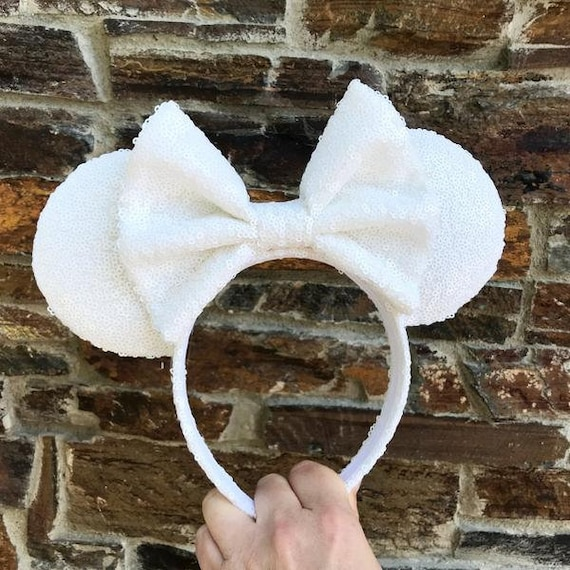 White Full Sequin Minnie Mouse Ears Mickey Mouse Ears Glitter Mickey Ears Sequin Mickey Ears - MADE TO ORDER