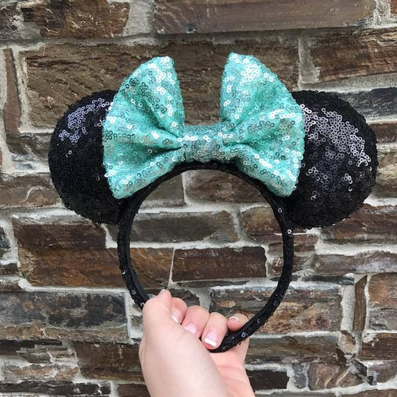Black with Mint Bow Sequin Minnie Mouse EarsMickey Mouse Ears Glitter Mickey Ears Sequin Mickey Ears - MADE TO ORDER