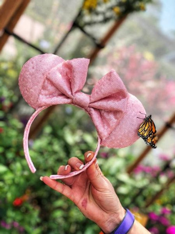 Millennial Pink Full Sequin Minnie Mouse Ears Mickey Mouse Ears Glitter Mickey Ears Sequin Mickey Ears - MADE TO ORDER