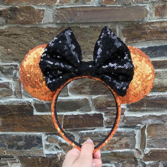 Orange with Black Bow Sequin Minnie Mouse EarsMickey Mouse Ears Glitter Mickey Ears Sequin Mickey Ears - MADE TO ORDER