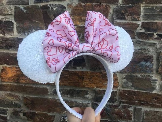 Pink Valentines Day Bow on White Sequin Minnie Mouse EarsMickey Mouse Ears Glitter Mickey Ears Sequin Mickey Ears - MADE TO ORDER