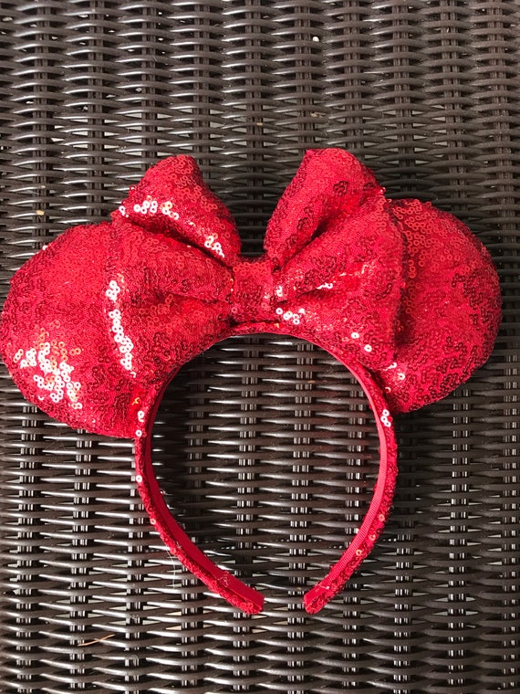Red Full Sequin Minnie Mouse EarsMickey Mouse Ears Glitter Mickey Ears Sequin Mickey Ears - MADE TO ORDER