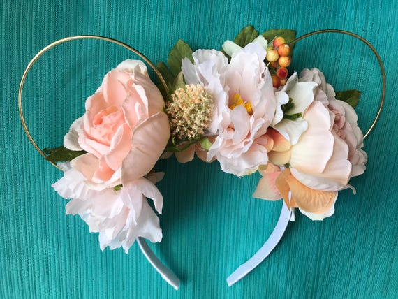 Cream Peach Rose Garden Floral Mickey Mouse Ears, disney ears,  mouse ears, minnie mouse ears, floral wire ears, wire mouse ears