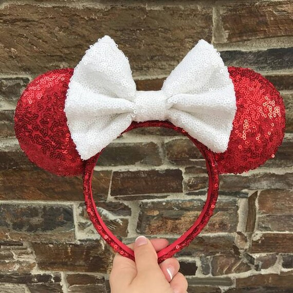 Peppermint Sequin Minnie Mouse Ears Mickey Mouse Ears Glitter Mickey Ears Sequin Mickey Ears - MADE TO ORDER