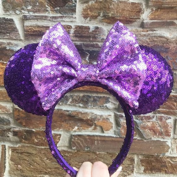 Purple with Light Purple Bow Full Sequin Minnie Mouse Ears Mickey Mouse Ears Glitter Mickey Ears Sequin Mickey Ears - MADE TO ORDER