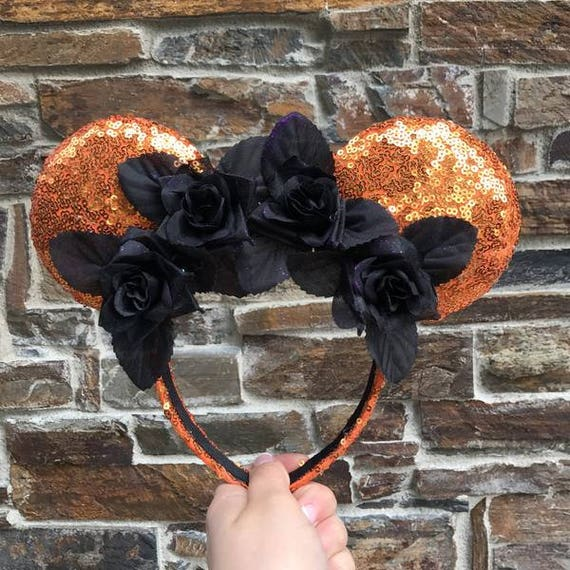 Halloween Floral Sequin Minnie Mouse Ears