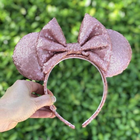 Matte Rose Gold Full Sequin Minnie Mouse EarsMickey Mouse Ears Glitter Mickey Ears Sequin Mickey Ears - MADE TO ORDER