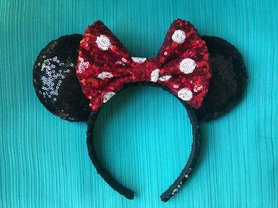 Classic Sequin Minnie Mouse Ears with PolkadotsMickey Mouse Ears Glitter Mickey Ears Sequin Mickey Ears - MADE TO ORDER