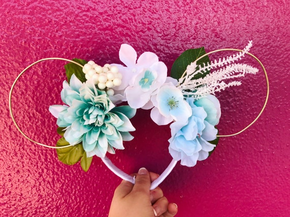 Ariel Inspired, Under the Sea, Reversible Floral Wire Ears, disney ears,  mouse ears, minnie mouse ears, mickey mouse ears, wire mouse ears