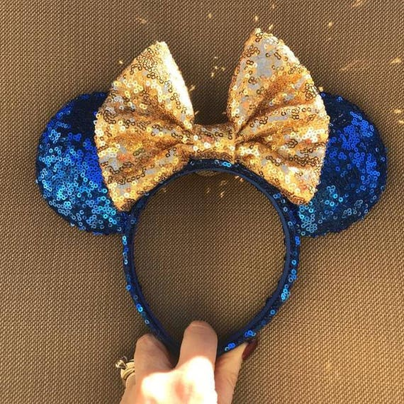 Blue and Gold Sequin Minnie Mouse Ears Mickey Mouse Ears Glitter Mickey Ears Sequin Mickey Ears - MADE TO ORDER