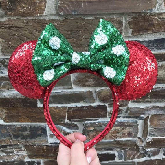 Christmas Sequin Minnie Mouse Ears (Polkadot)