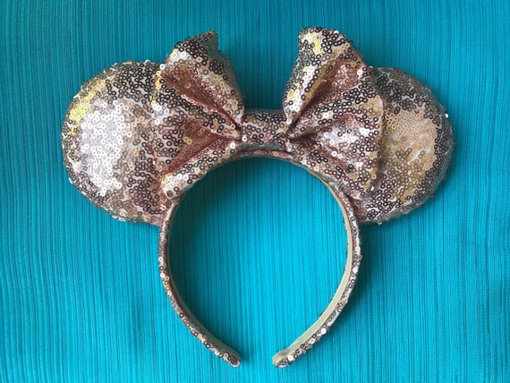 Rose Gold Full Sequin Minnie Mouse Ears Mickey Mouse Ears Glitter Mickey Ears Sequin Mickey Ears - MADE TO ORDER
