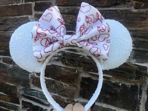 Valentines Day Bow on White Sequin Minnie Mouse EarsMickey Mouse Ears Glitter Mickey Ears Sequin Mickey Ears - MADE TO ORDER