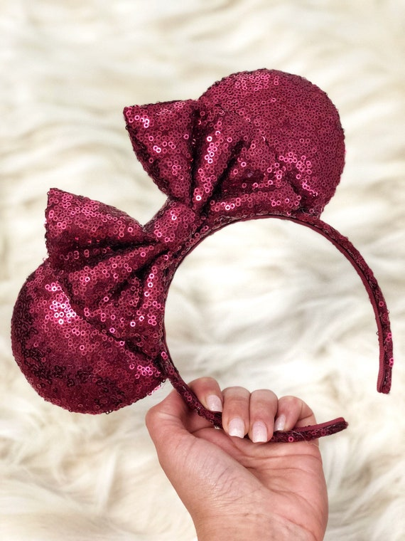 Burgundy (Wine Red) Full Sequin Minnie Mouse Ears Mickey Mouse Ears Glitter Mickey Ears Sequin Mickey Ears - MADE TO ORDER