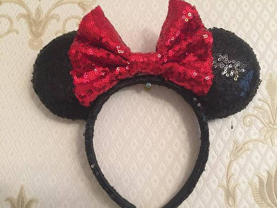 Classic Sequin Minnie Mouse Ears Mickey Mouse Ears Glitter Mickey Ears Sequin Mickey Ears - MADE TO ORDER