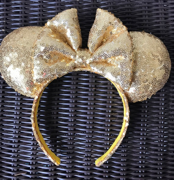 Gold Full Sequin Minnie Mouse EarsMickey Mouse Ears Glitter Mickey Ears Sequin Mickey Ears - MADE TO ORDER
