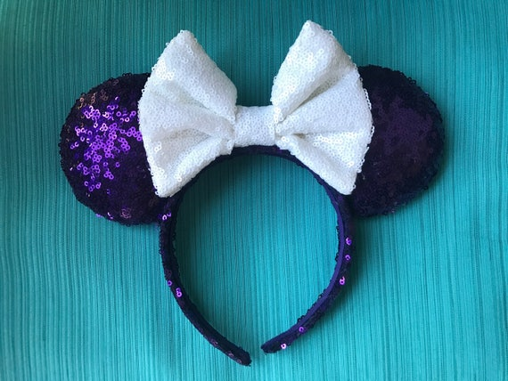 Haunted Mansion Sequin Minnie Mouse Ears (Light) Mickey Mouse Ears Glitter Mickey Ears Sequin Mickey Ears - MADE TO ORDER