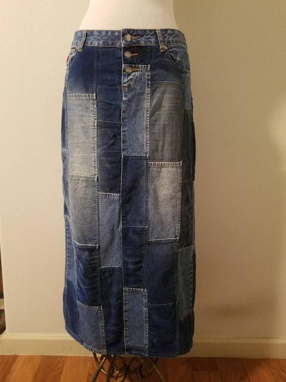 Vintage 90's Bongo Patchwork Denim Maxi Skirt