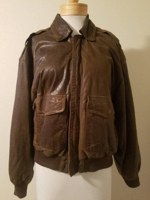 Sale~Men's Vintage 80's Midway Brown Leather Jacke